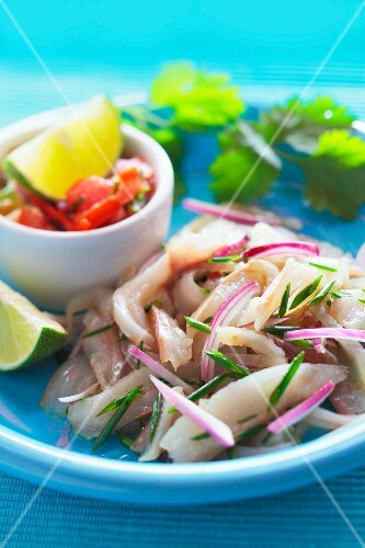 Ceviche with salsa and limes (Mexico)