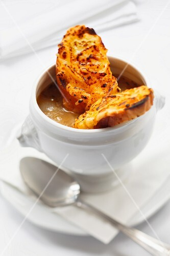 Onion soup with grilled cheese bread