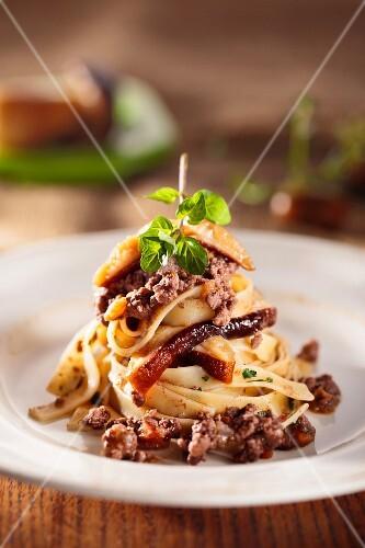 Tagliatelle with wild boar ragout and porcini mushrooms