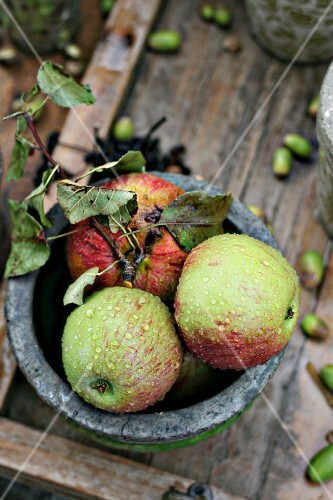 Wet apples in bowl