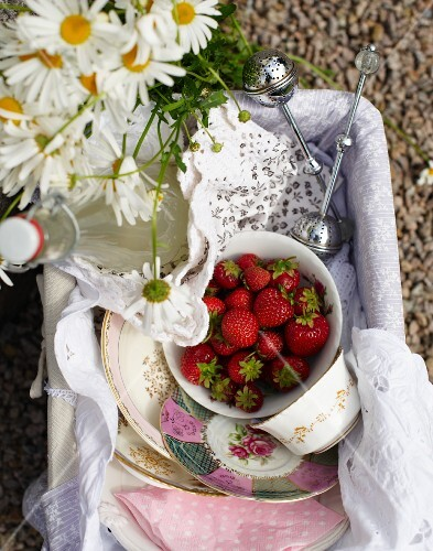 A picnic basket with strawberries and lemongrass lemonade on a bicycle