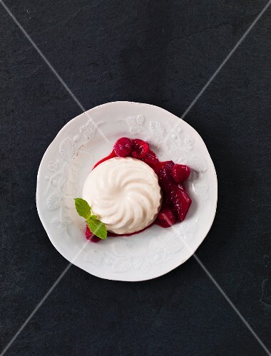 Bavarian cream with compote