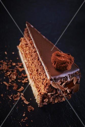 A slice of truffle cake with chocolate curls