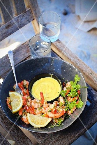 Herb prawns with a curry dip