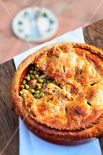 Chicken pie with peas