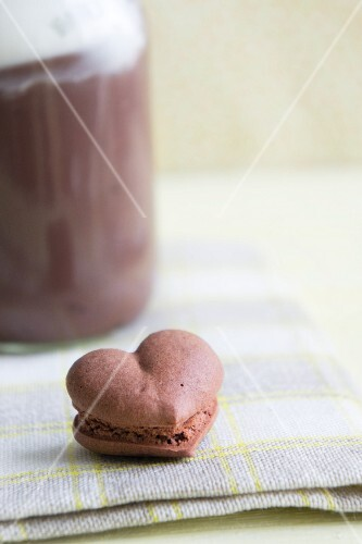 A heart-shaped chocolate macaroon
