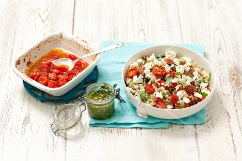 Fregola (Sardinian pasta) with oven roasted tomatoes and sheep's cheese