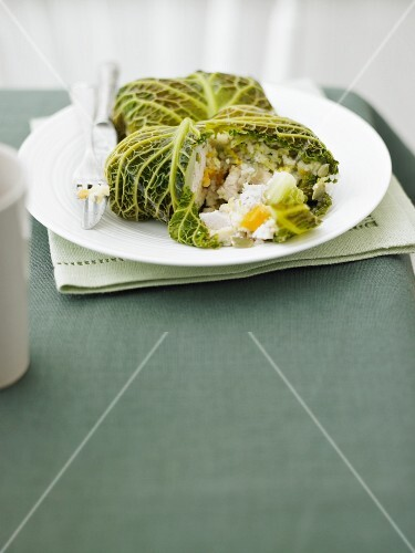 Stuffed savoy cabbage leaves filled with chicken, couscous and apricots