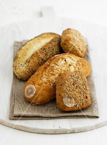 Bread rolls on a linen napkin