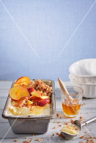 Honey and amaretti ice cream with nectarines