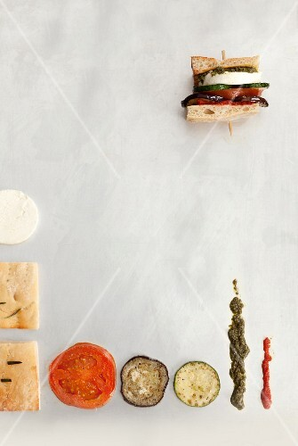 A vegetable sandwich and individual ingredients