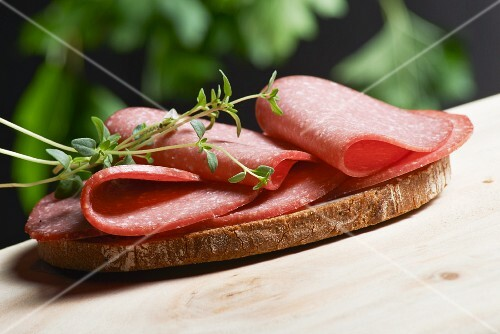 A slice of bread topped with salami and fresh oregano on a wooden table in a garden