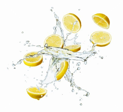 Lemon slices with a splash of water