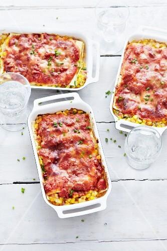 Quick sweetcorn lasagne with smoked ham