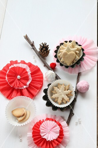 Paper Christmas decorations and Christmas biscuits