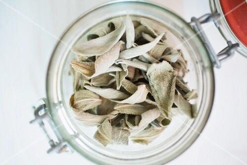 Dried sage leaves