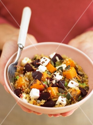 Bulgur salad with pumpkin, beetroot and feta cheese