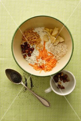 A bowl of muesli mixture