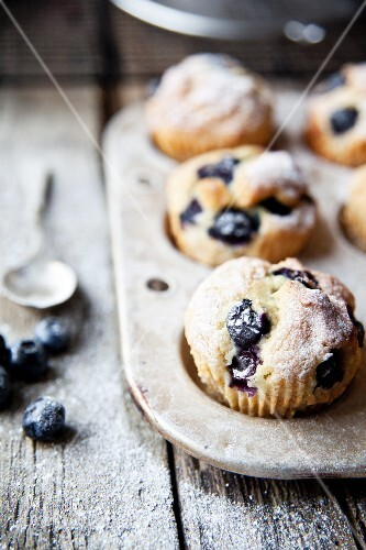 Blueberry muffins with icing sugar