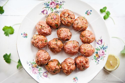 Raw lamb meatballs with Moroccan spices