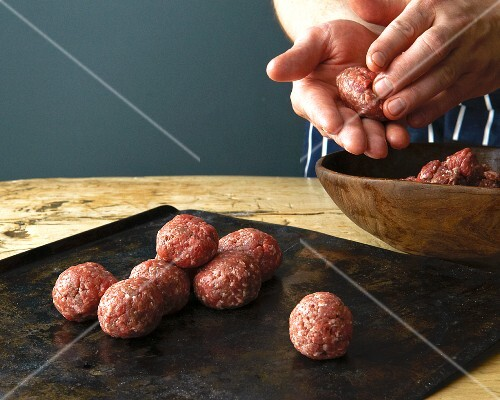 Meat balls being shaped