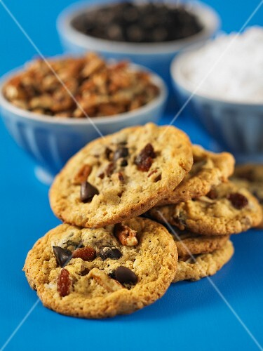 Everything Cookies with nuts, chocolate chips and raisins