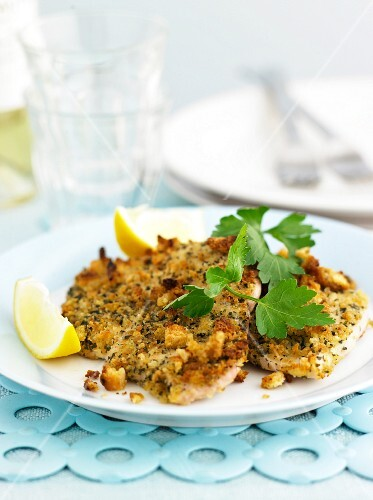 Chicken schnitzel with herb batter