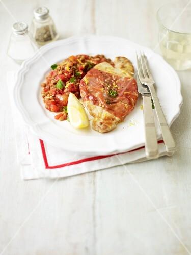 Pork saltimbocca with a lentil medley