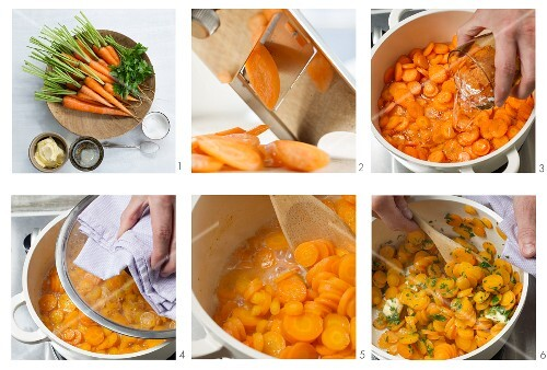 Steamed carrots with parsley being made