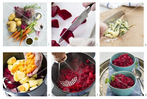 Beetroot purée with carrots and potatoes being made