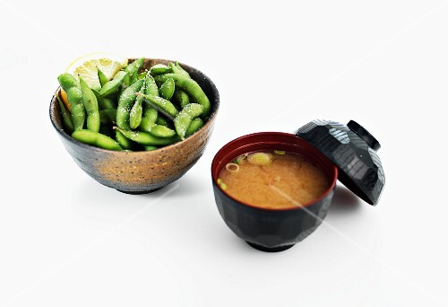 Miso soup and salted soya beans (Japan)