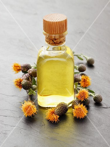 A bottle of thistle oil