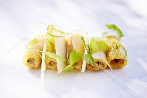 Pasta filled with chopped vegetables