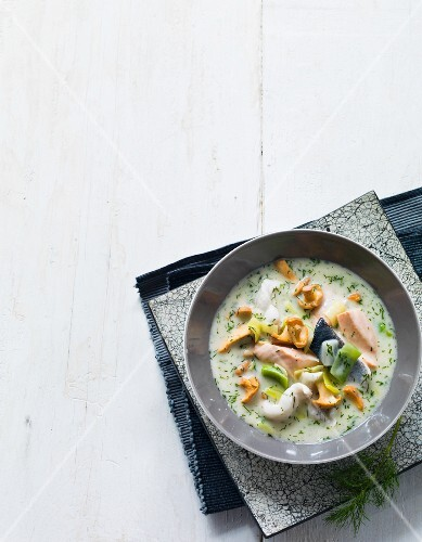 Fish soup with cream and herbs