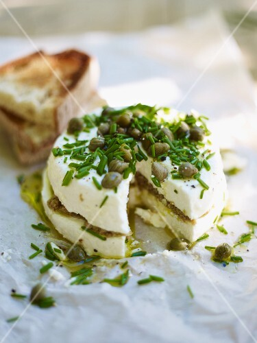 Goat's cheese filled with tapenade