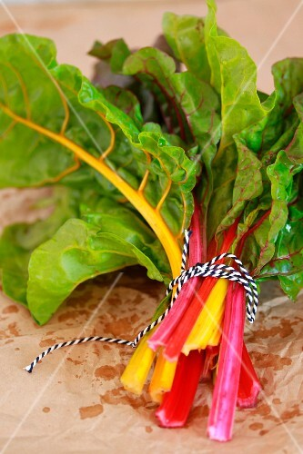 A bunch of red and yellow chard leaves