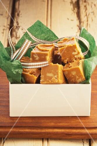 Butterscotch fudge as a gift, England