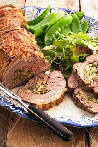 Lamb roulade with a pea and mint filling