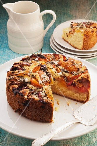 Teacake with stone fruits, mint and ginger