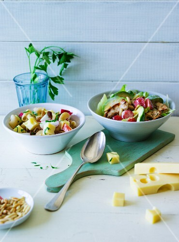 ADHD food: fruity turkey salad and a pasta salad with cheese