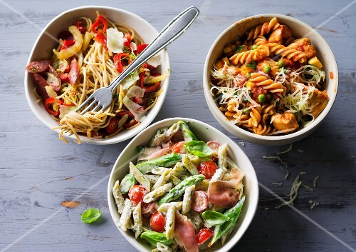 ADHD food: three different pasta dishes