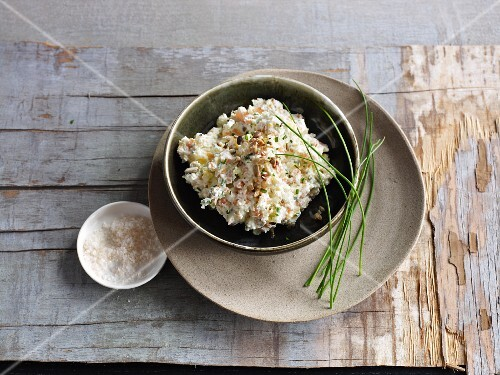 A bowl of coleslaw spread