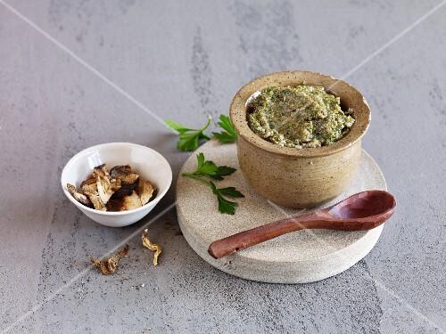 A porcini mushroom and parsley spread