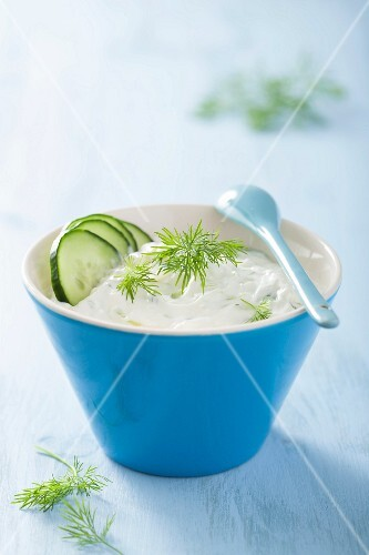 Tzatziki with cucumber and dill