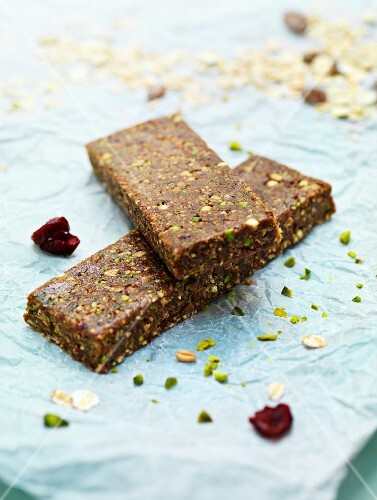 A fruit bar made with muesli, pistachios and nuts