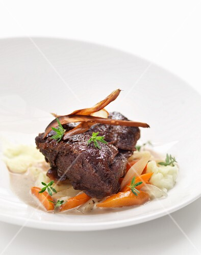 Beef steak with carrots and potatoes