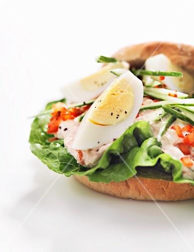 An egg and tuna sandwich