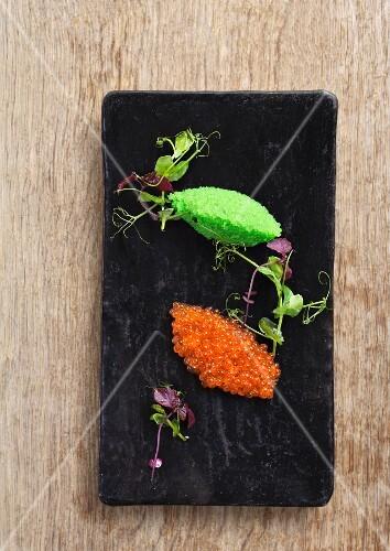 Orange and green fish roe