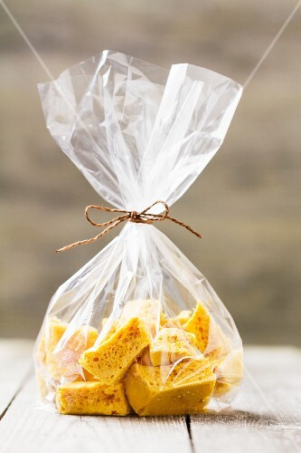 Honeycomb in a cellophane bag, England