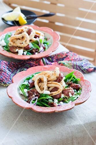 Squid salad with chorizo